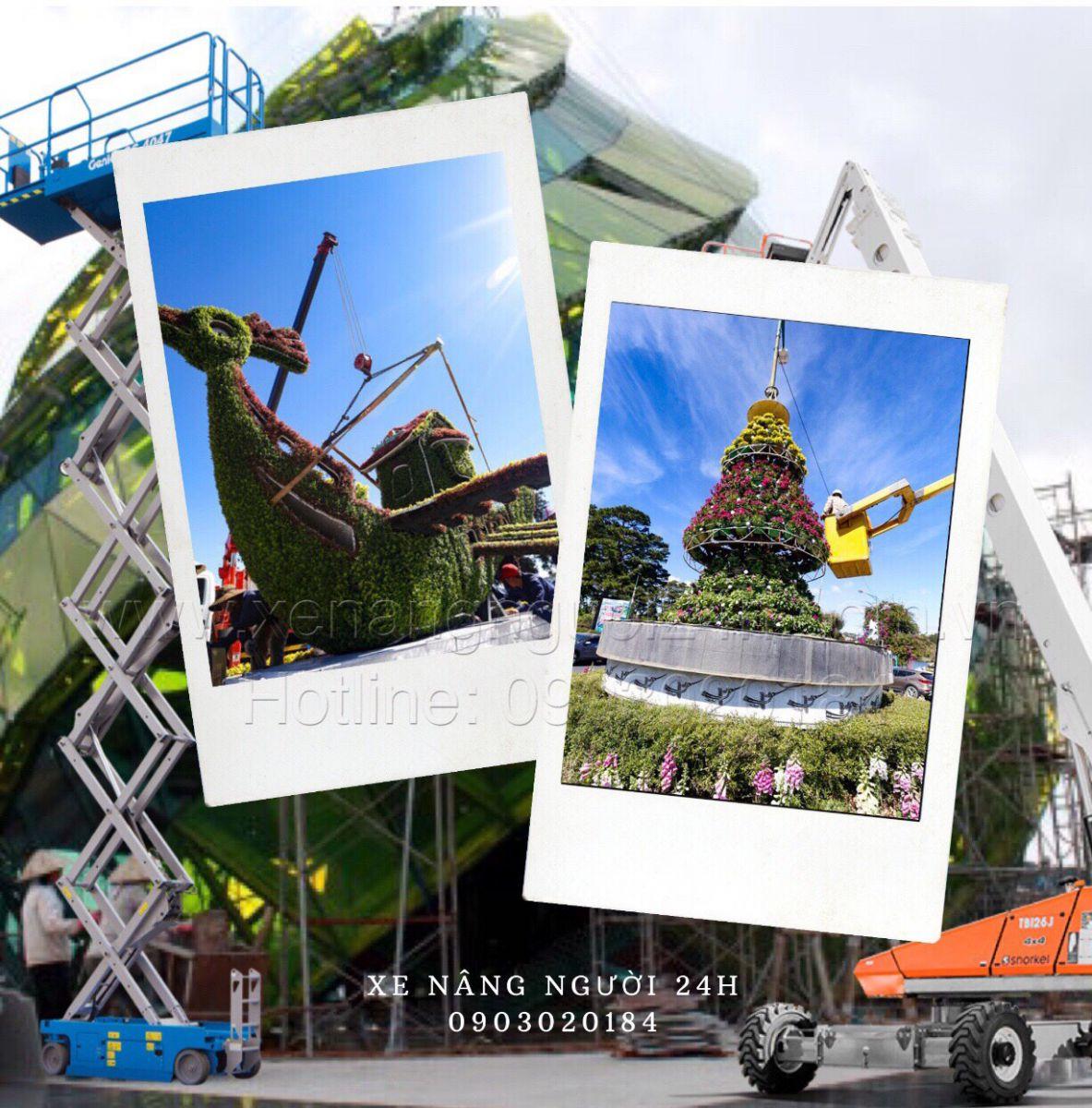 xe nâng người làm việc tại Đà Lạt Lâm Đồng